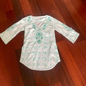 White & aqua tunic top-cover up embellished.